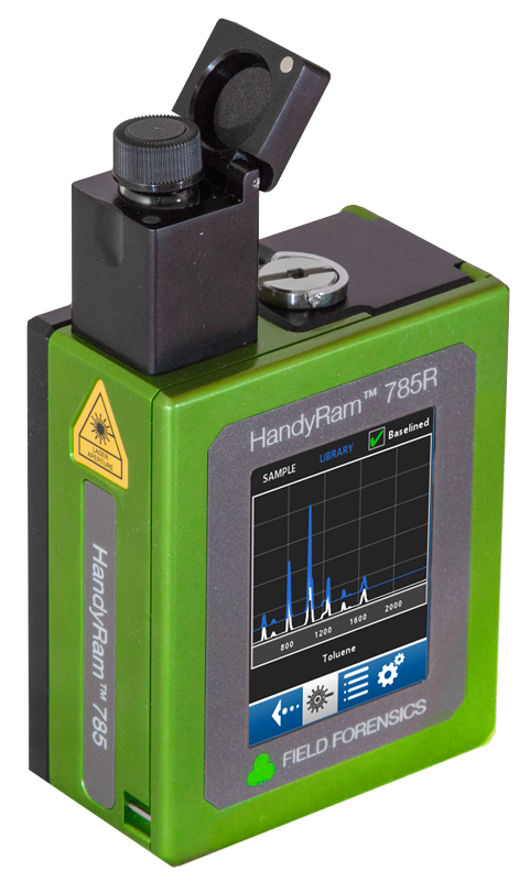HandyRam™ 785R raman spectroscopy - identifies unknown samples in seconds | pocket-sized and ideal for field use | Logical displays of information; touch-screen | Rapid Laser Spin™ | Mixture-Analysis
